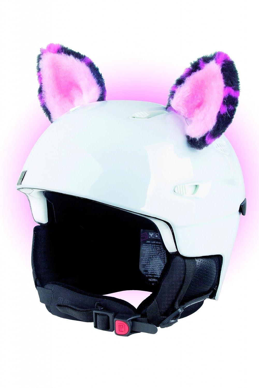 Crazy Ears Helm-Accessoires Ohren Katze Tiger Lux Frosch, Ski-Ohren geeignet für Skihelm, Motorradhelm, Fahrradhelm und vieles mehr. Helm Dekoration für Kinder und Erwachsene