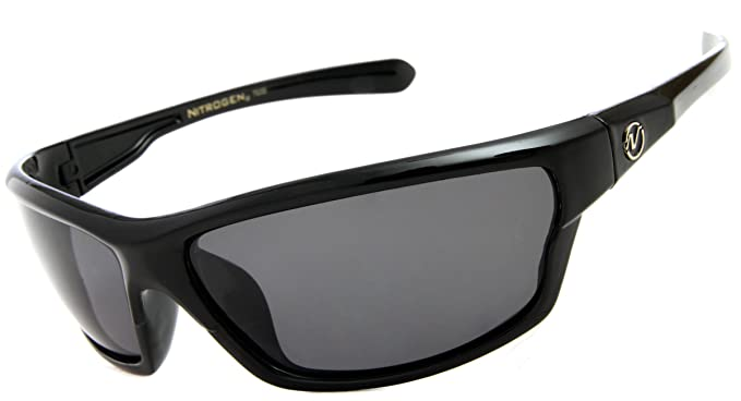 black polarized sunglasses  Amazon.com: Nitrogen Men\u0027s Rectangular Sports Wrap 65mm Black ...