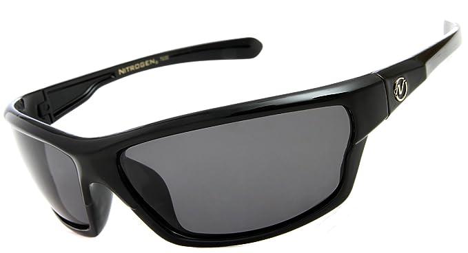 3e6619e34a0 Nitrogen Men s Rectangular Sports Wrap 65mm Black Polarized Sunglasses