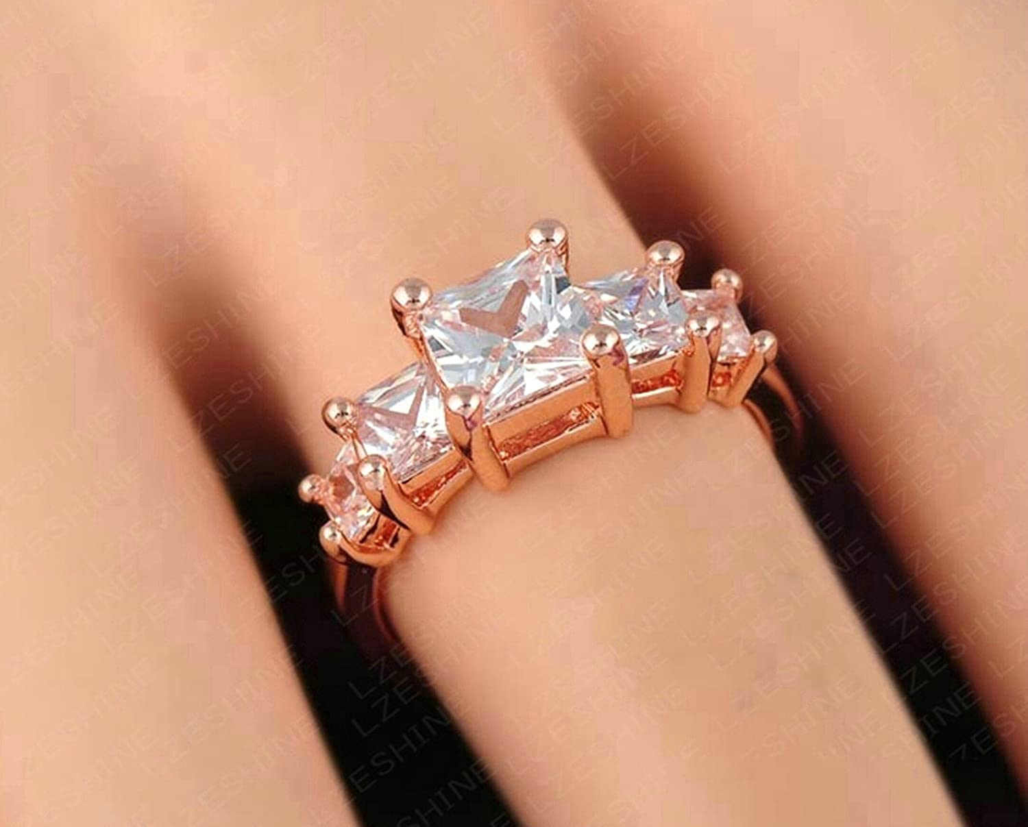Gnzoe Jewelry Silver Plated Women Wedding Bands Rose Gold US Size 5.5