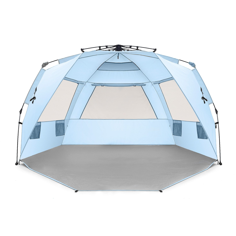 Easthills Outdoors, leicht aufzustellendes Strandzelt für 4 Personen, Deluxe XL Sonnenschutz, Inklusive erweiterbarem Vordach mit Reißverschluss