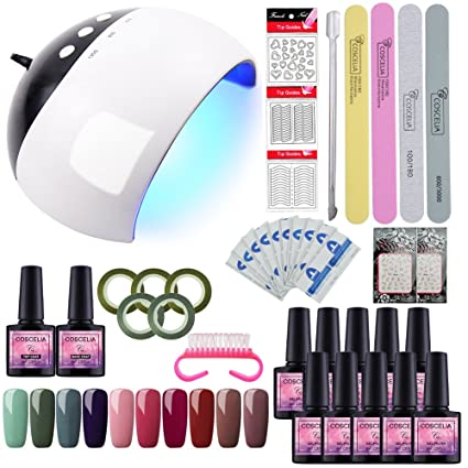 Saint-Acior Esmaltes Semipermanentes Set Manicura y Pedicura 24W UV/LED Lámpara Kit Uñas