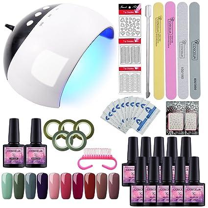 Saint-Acior Esmaltes Semipermanentes Set Manicura y Pedicura 24W UV/LED Lámpara Kit Uñas