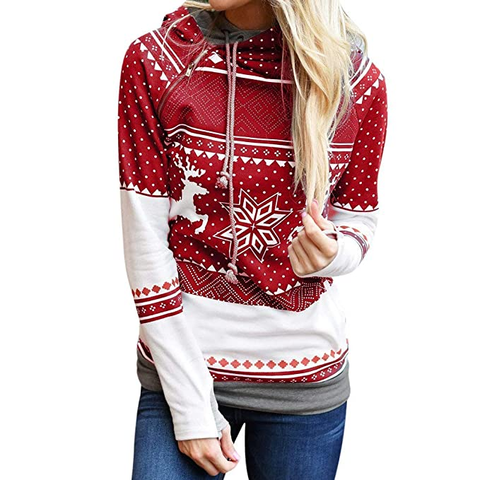 6339f3990 Fashion Hoody Women Christmas Hoodie Long Sleeve Drawstring Dots Reindeer  Print Side Zipper Sweatshirt Pullover (