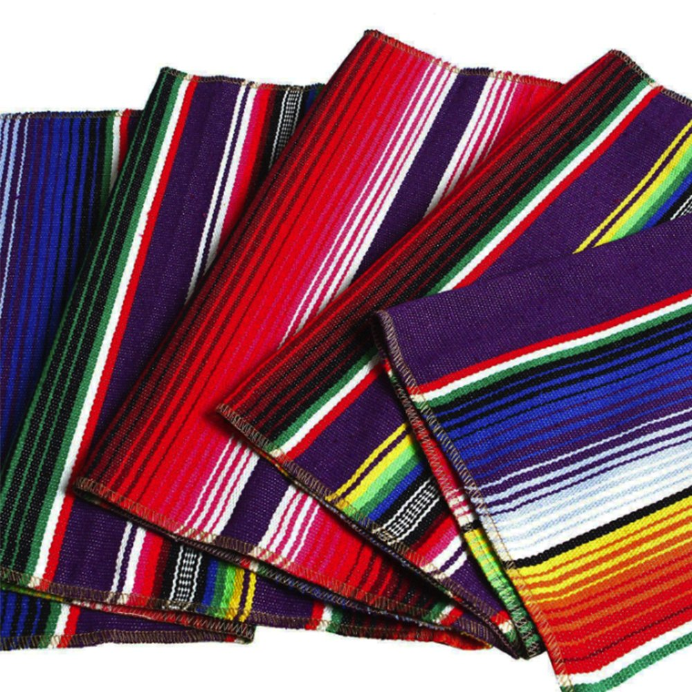 2 Pack Mexican Serape Table Runner 14 x 84 Inch for Mexican Party Wedding Decorations Outdoor Picnics Dining Table, Fringe Cotton Handwoven Table Runners by Focushow (Image #4)