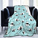 """Delerain Panda Soft Throw Blanket 40""""x50"""" Lightweight Flannel Fleece Blanket for Couch Bed Sofa Travelling Camping for…"""
