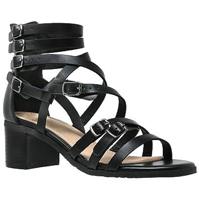 f827cb7db2 Womens Dress Sandals Strappy Buckle Accent Block Low Heel Gladiators Black  SZ 5