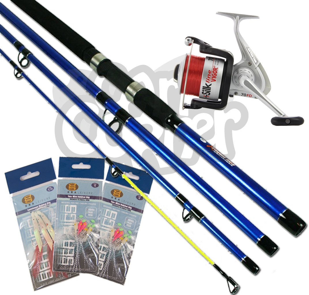 Sea Fishing Set up 9ft 4 Piece Rod & Reel With Tackle 3 Feathers & 3 Rigs NGT