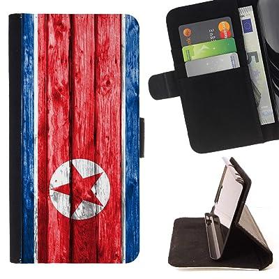FJCases Corea del Norte Coreano del Norte Bandera con Patrón de Madera Carcasa Funda Billetera con Ranuras para Tarjetas y Soporte Plegable para Samsung Galaxy J3 Emerge / Galaxy J3 Prime / Galaxy J3 Eclipse / Galaxy J