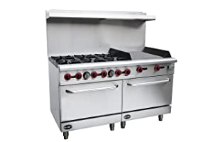 """Heavy Duty Commercial 60"""" Gas 6 Burner Range with 24"""" Gas Griddle & Bottom Oven"""