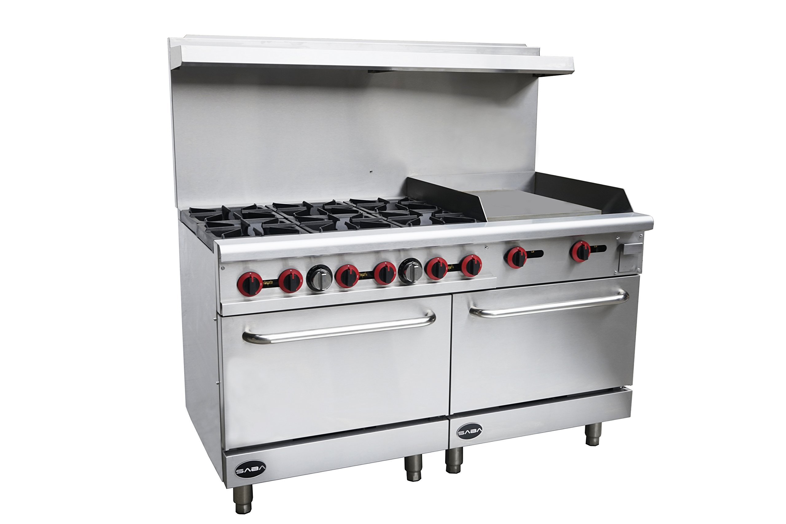 Heavy Duty Commercial 60'' Gas 6 Burner Range with 24'' Gas Griddle & Bottom Oven