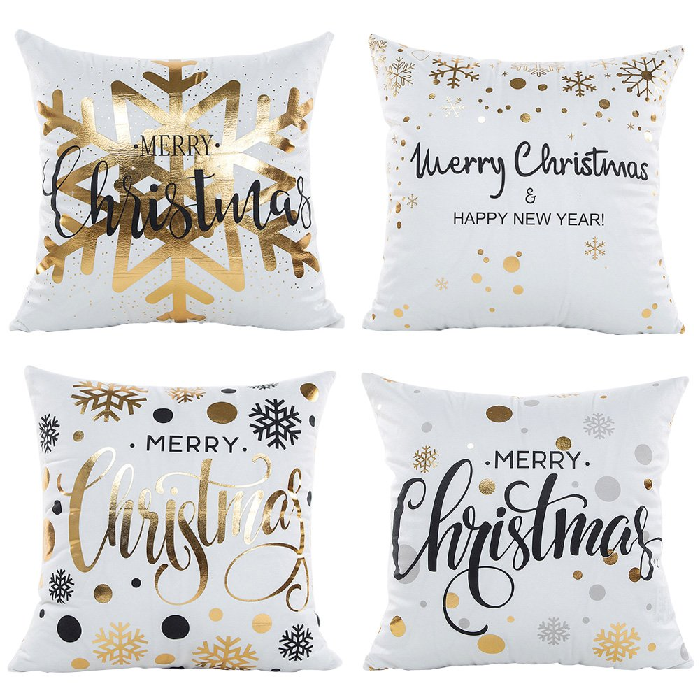 4 Pcs Christmas Theme Cushion cover,Sofa cushion Car Office Pillowcase, 100% Polyester Fibers Not the ball Decorative Pillow Cover 18X18 Inch cjc