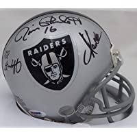 $264 » Oakland Raiders Super Bowl MVP's Autographed Mini Helmet With 3 Signatures Including Fred Biletnikoff, Jim Plunkett & Marcus Allen…