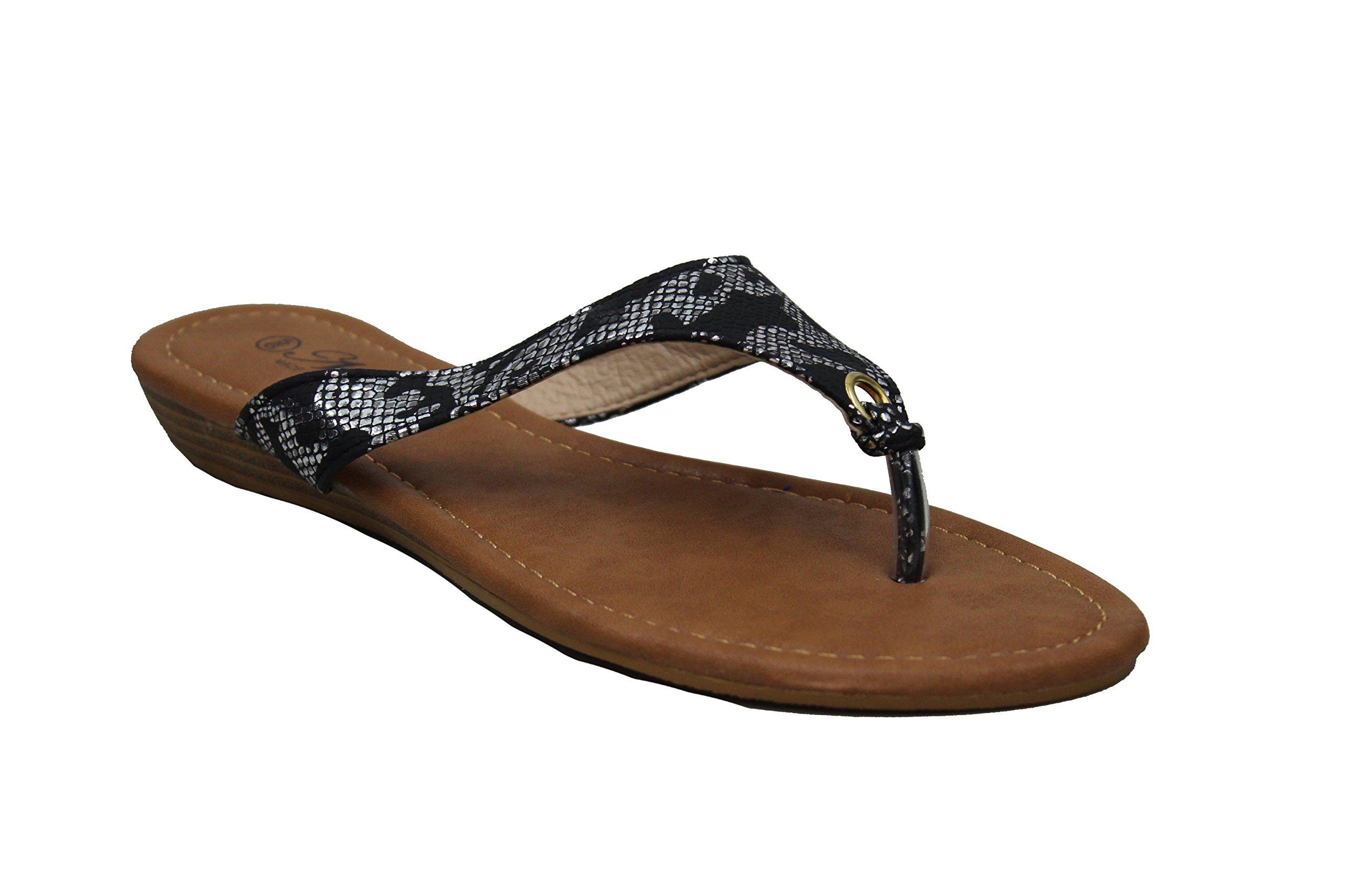 Jeffrey D Women's Flip Flop Slide Flat Comfy Slippers Shoe Sandals (9, Black-A)