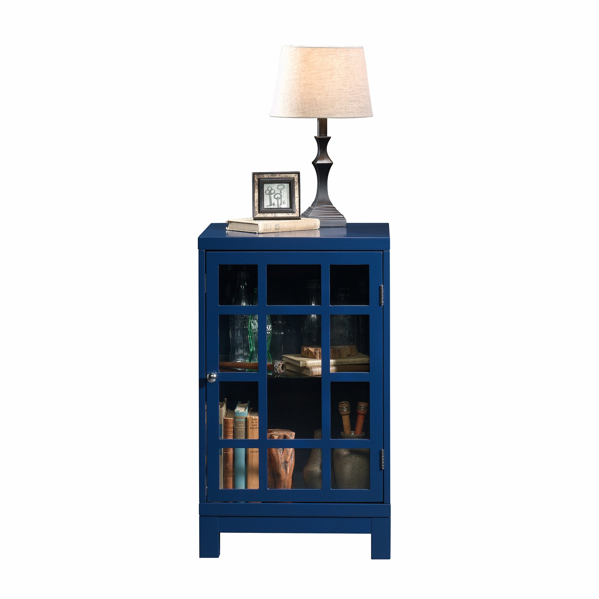 Sauder 420140 Carson Forge Display Cabinet, L: 17.91'' x W: 15.75'' x H: 27.56'', Indigo Blue finish by Sauder