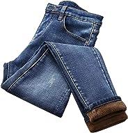 RollingBronze Women High Waist Thermal Jeans Fleece Lined Denim Pants Stretchy Trousers Skinny Pants