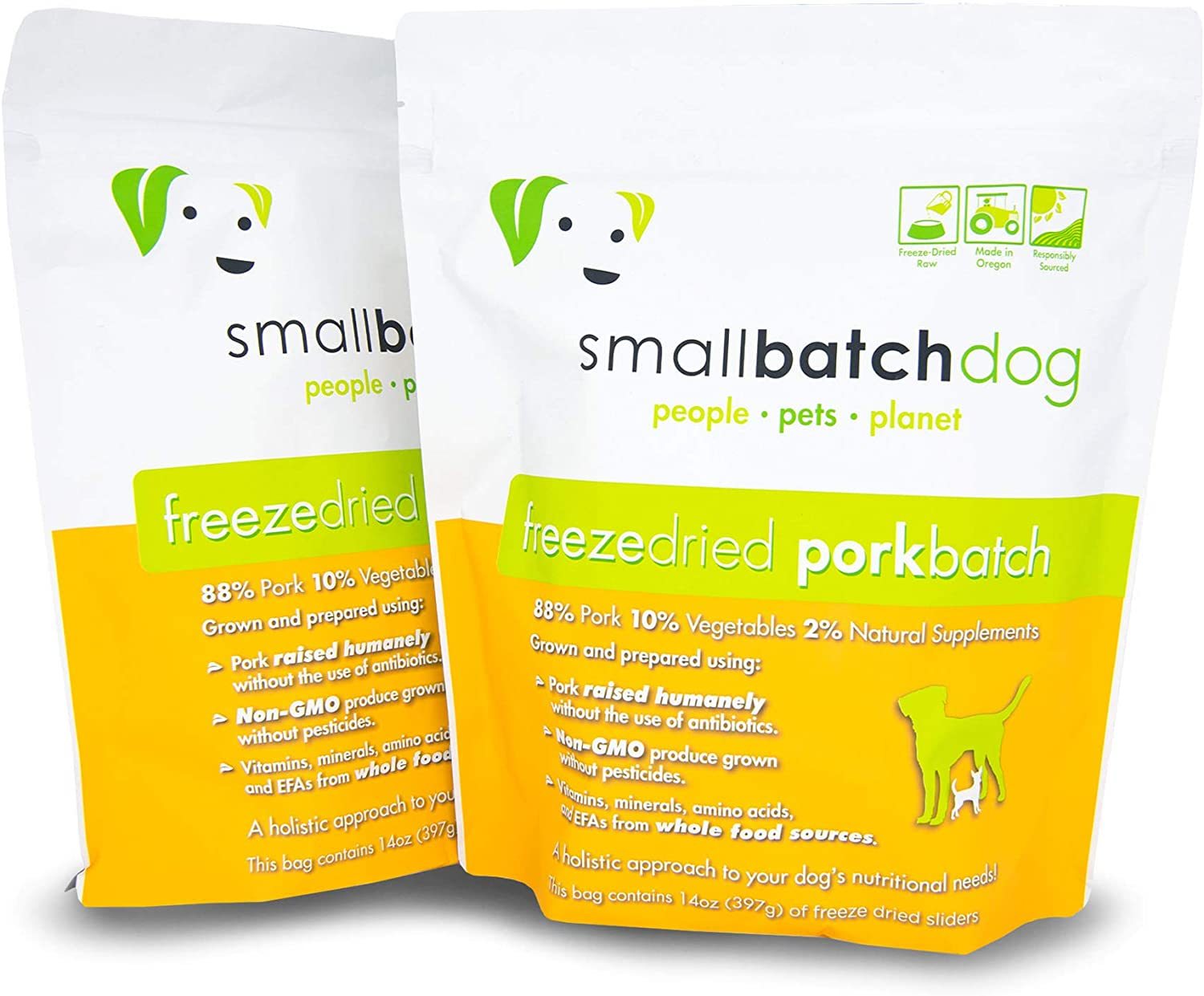 Smallbatch Pets Freeze-Dried Premium Raw Food Diet for Dogs, 2-Pack, Pork Recipe, 14 oz in Each Bag (28 oz Total), Made in The USA, Organic Produce, Humanely Raised Meat, Hydrate and Serve Patties