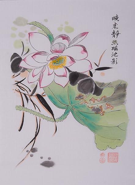 Amazoncom Jiangnanruyi Art Lotus Flower Original Hand Painted