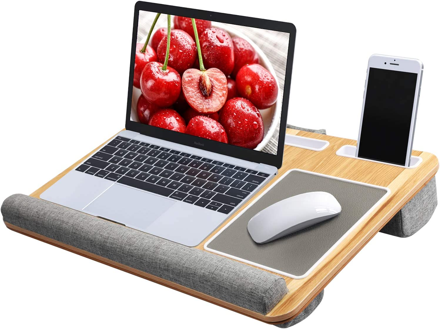 Lap Desk - Fits up to 17 inches Laptop Desk, Built in Mouse Pad & Wrist Pad for Notebook, MacBook, Tablet, Laptop Stand with Tablet, Pen & Phone Holder (Wood Grain) : Office Products