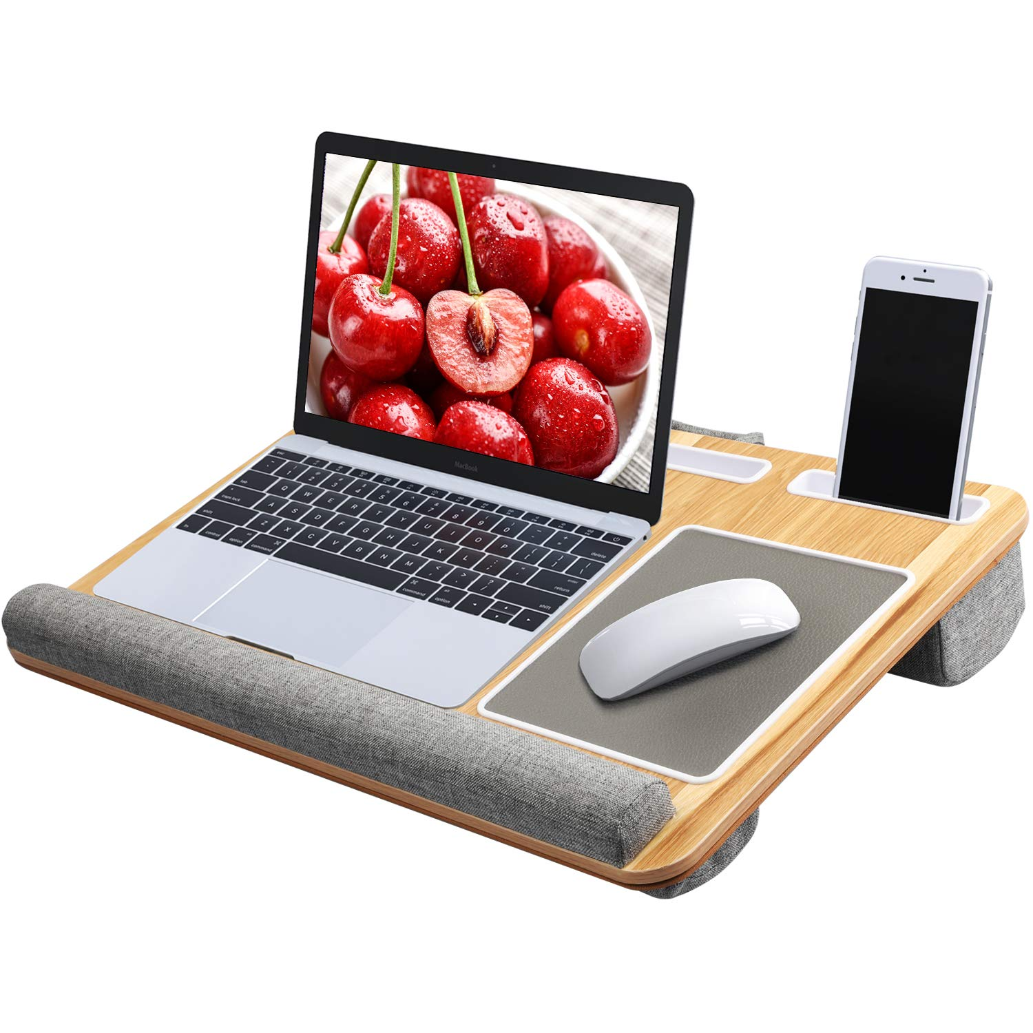Lap Desk - Fits up to 17 inches Laptop Desk, Built in Mouse Pad & Wrist Pad for Notebook, MacBook, Tablet, Laptop Stand with Tablet, Pen & Phone Holder (Wood Grain) by HUANUO