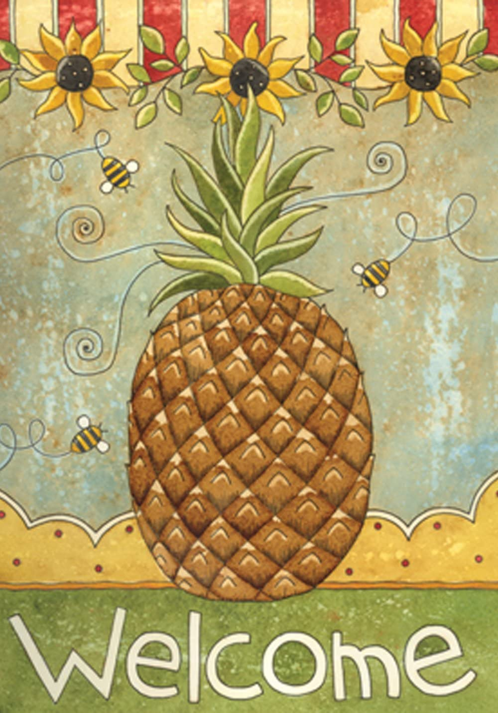 Toland Home Garden Sunflowers and Pineapple 12.5 x 18 Inch Decorative Summer Fall Flower Bee Welcome Garden Flag