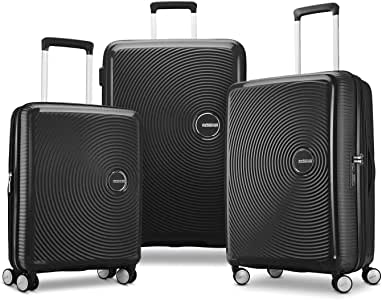 American Tourister Curio Hardside Luggage with Spinner Wheels, Black, 3-Piece Set (20/25/29)