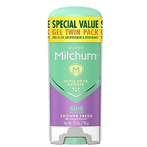 Mitchum Antiperspirant Deodorant Stick for Women, Triple Odor Defense Gel, 48 Hr Protection, Shower Fresh, 3.4 oz (pack of 2)