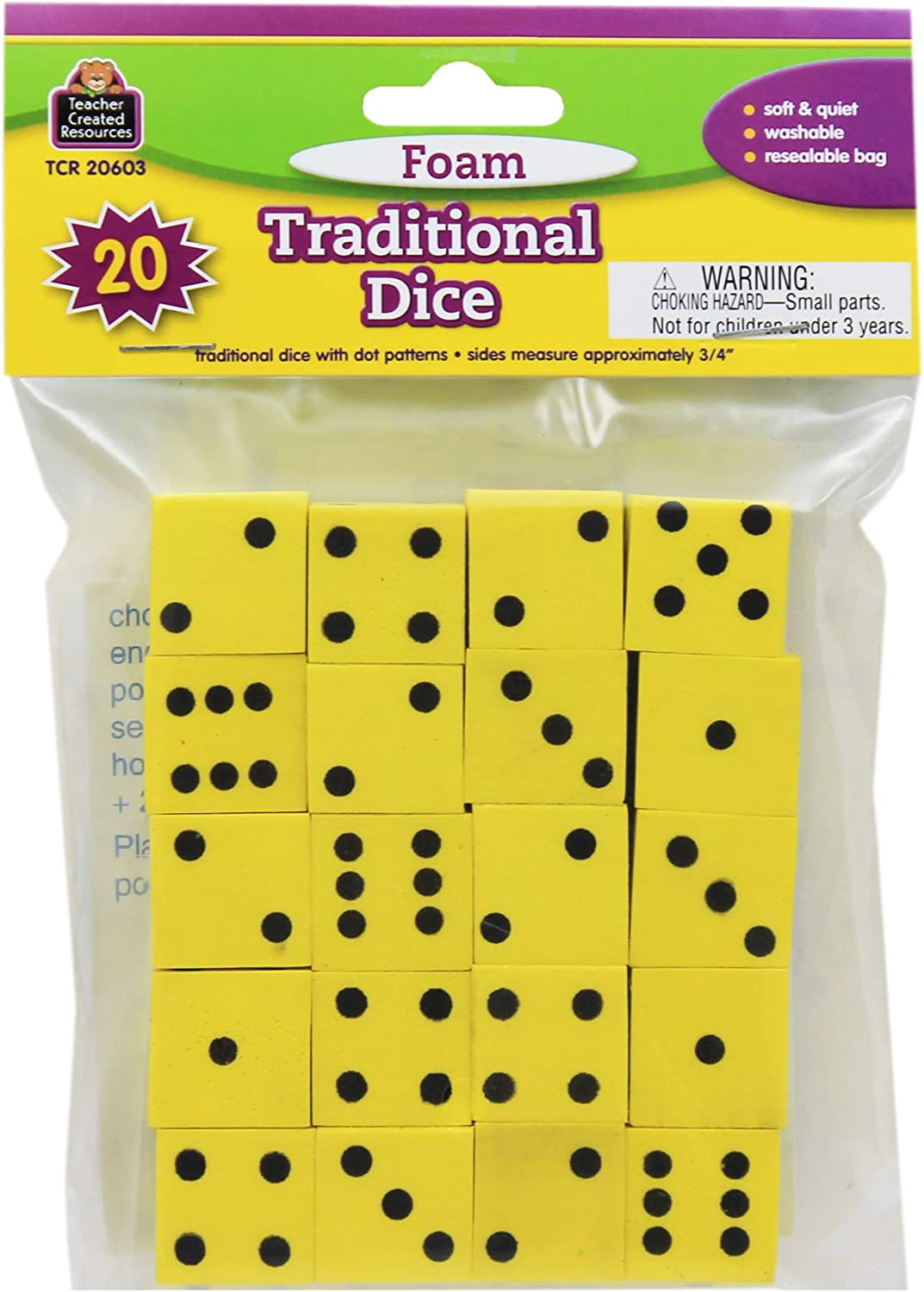 Teacher Created Resources Foam Traditional Dice (20603), Multi