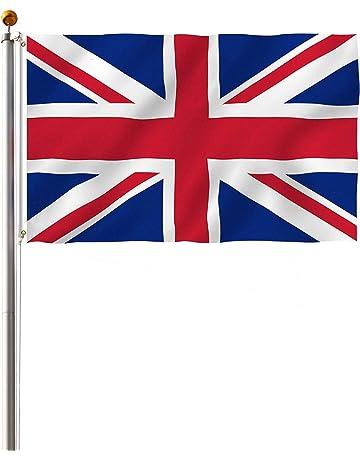 Display4top Mástil Aluminio Exterior 6.1m Incluye Bandera de Reino Unido 150 x 90 cm