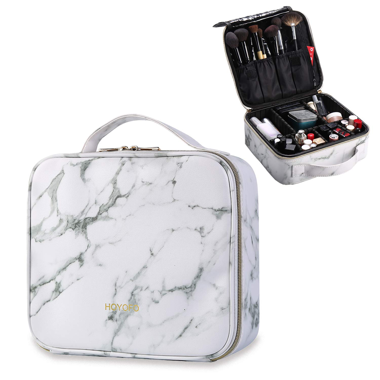 HOYOFO Travel Makeup Train Case with Adjustable Dividers White Marble Makeup Organizer Bag Portable Cosmetic Storage Cases with Brush Holders