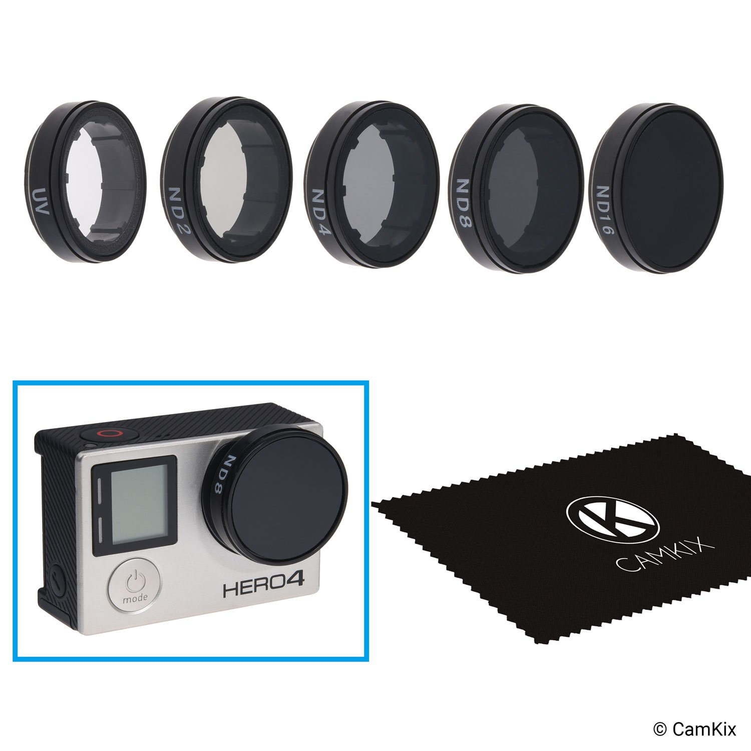 CamKix Cinematic Filter Pack Compatible with GoPro Hero 4 and 3+ Includes 4 Neutral Density Filters (ND2/ND4/ND8/ND16), a UV Filter and a Cleaning Cloth. by CamKix