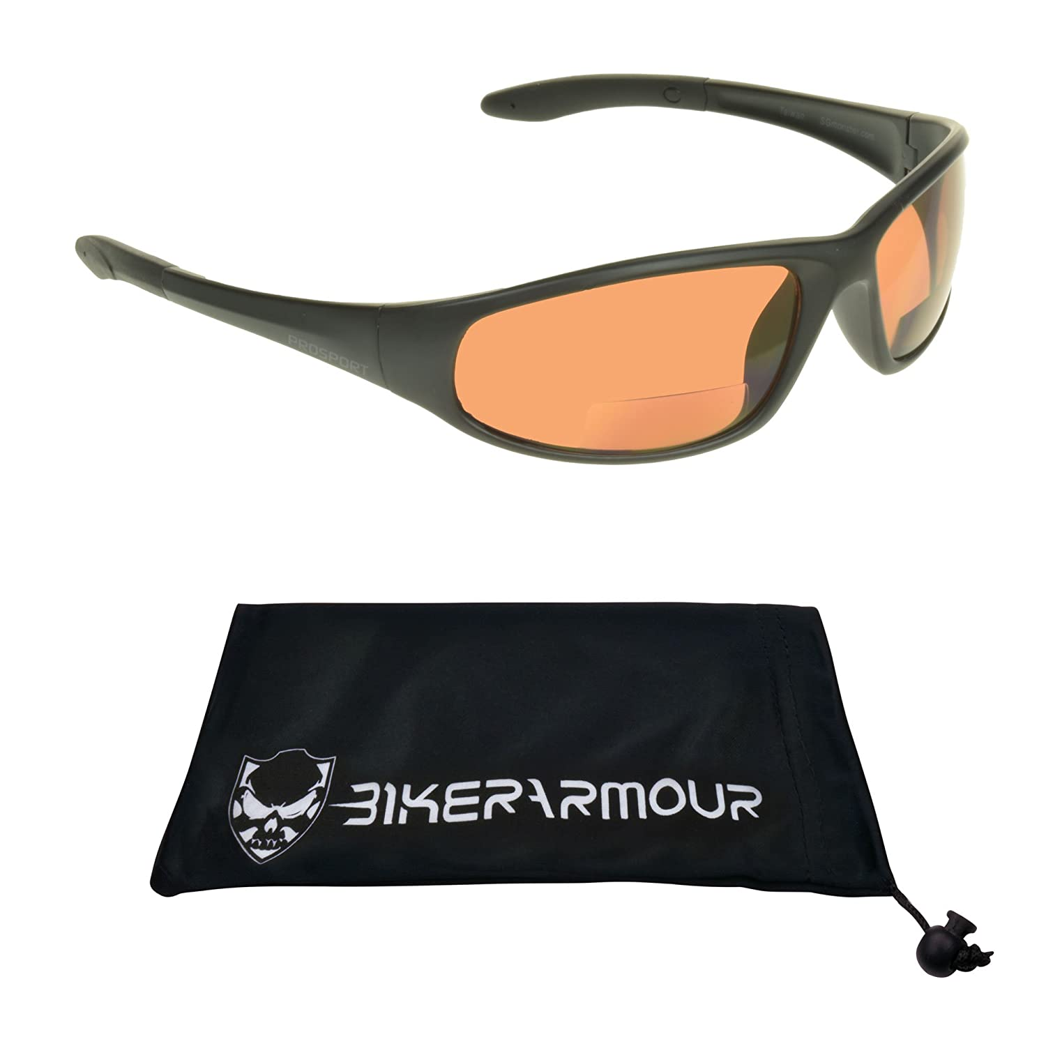 Motorcycle Blue Blocker HD Lens Bifocal Sunglasses 2.00 for Men and Women. Z87.1 Polycarbonate Lens, Wraparound Frame & Cleaning Case. Puma/HD/2.0 Bikershades Puma bifocal hd 2.00