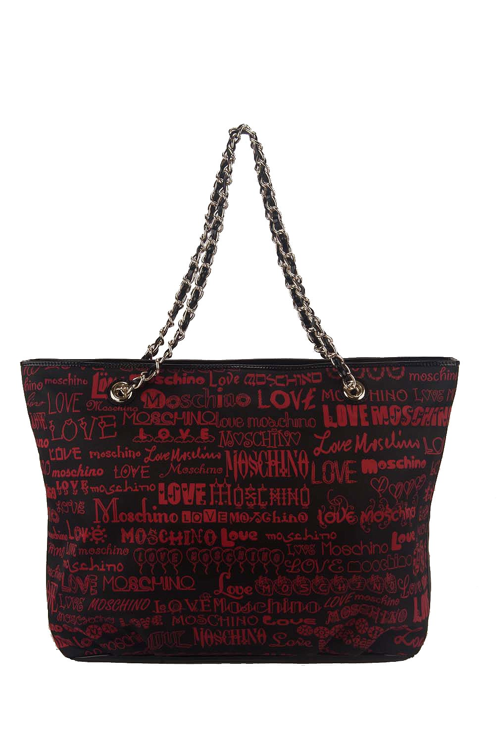 Love Moschino Large Saffiano Chain Strap Logo Shopper Tote Bag