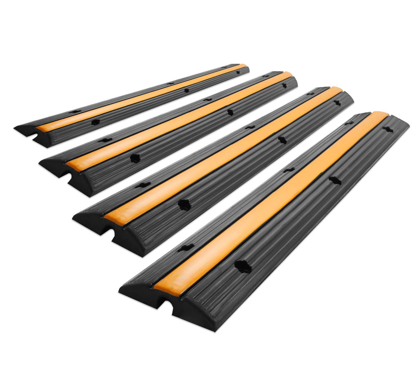 SHZOND Extreme Rubber Single Channel Cable Protector Cable Ramps/Protectors Cable Ramp Cover 4 Pack Cable Protector Ramp Capacity 18000lbs Rubber Speed Bump (4 Pack Single Channel)