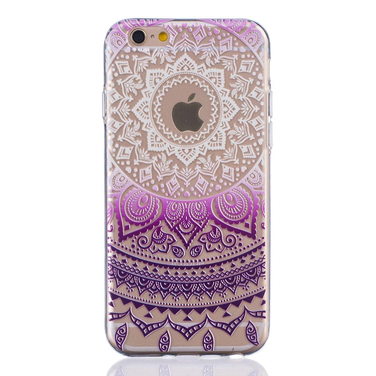 IKASEFUクリアトライバルフラワーパターンソフトジェルスリムフィット保護バンパーケースカバーfor iPhone 6 Plus / 6s Plus 5.5