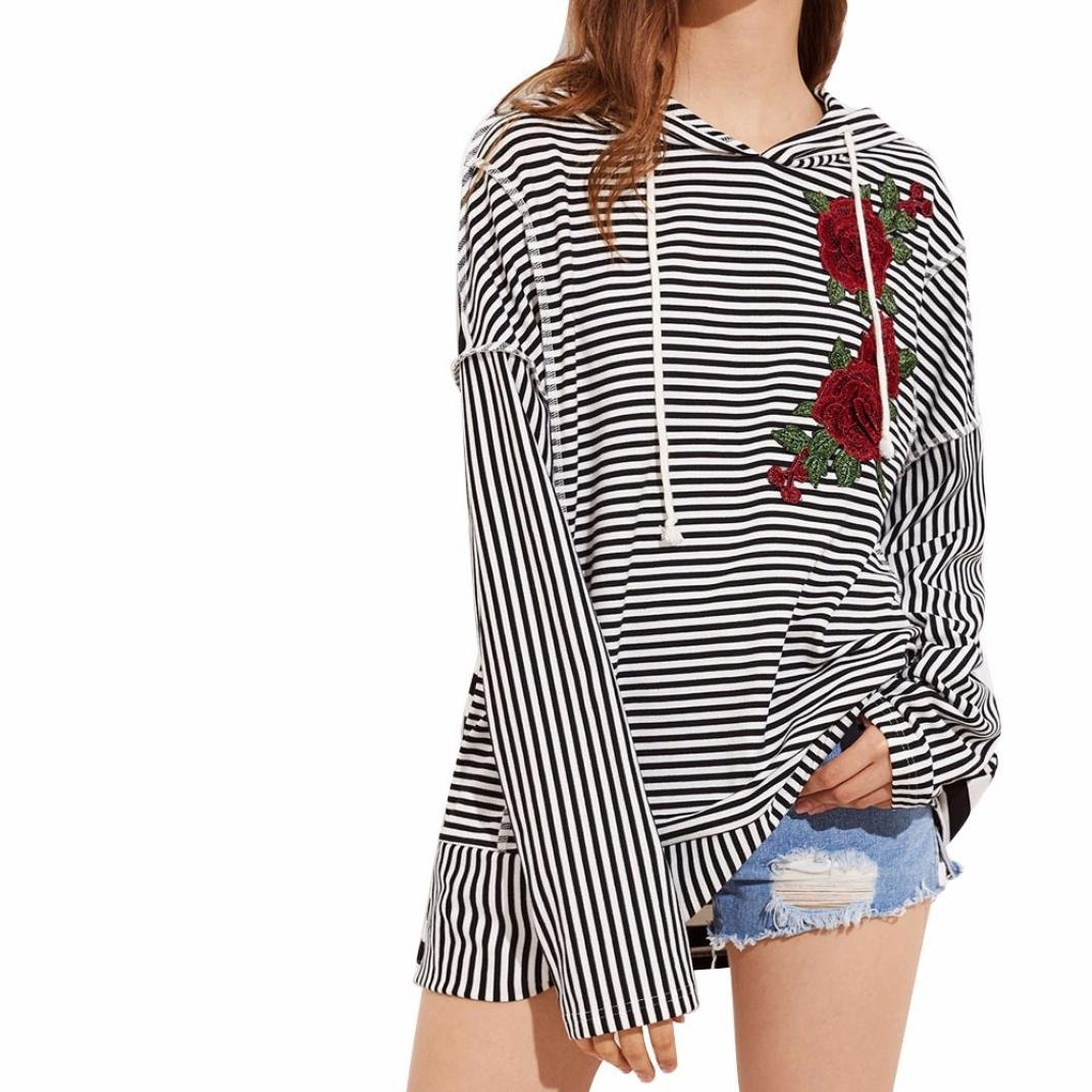 Han Shi Embroidery Blouse, Women Floral Striped Long Sleeve Casual Hooded Shirt Tops (S, Black)