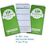 Daily Food Intake Record Book, 4 x 8 Inches (3 Pack)