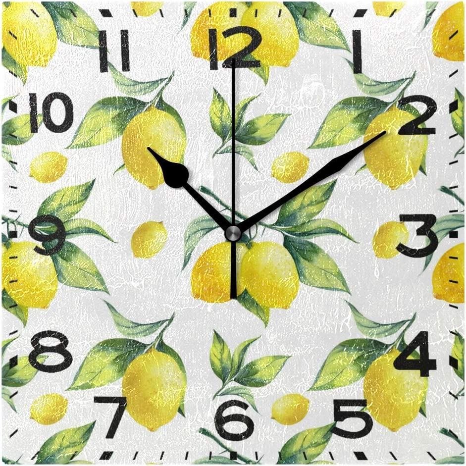 Naanle Tropical Lemon Leaves Pattern Square Wall Clock Decorative, 8 Inch Battery Operated Quartz Analog Quiet Desk Clock for Home,Office,School