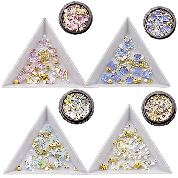 4 Boxes 3d Butterfly Nail Charms Butterfly Acrylic Nail Art Stud Pearl Metal Rivets Glitter Butterfly Charms Nail Designs 2021 For Nail Art Decoration Diy Crafting Design Beauty Amazon Com