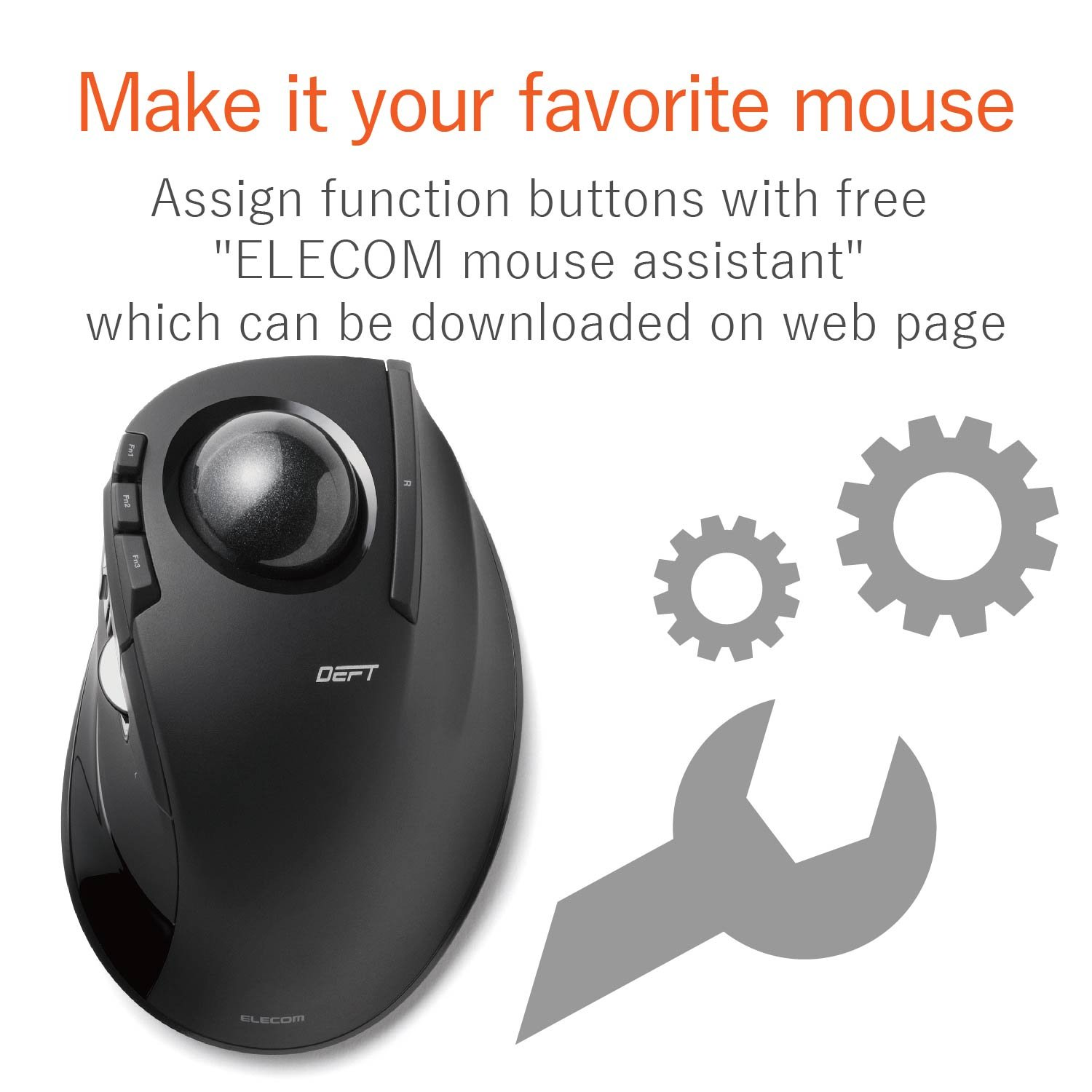 ELECOM M-DT2DRBK Wireless index finger Trackball mouse , EX-G series L size 2.4GHz 8 buttons Black by ELECOM