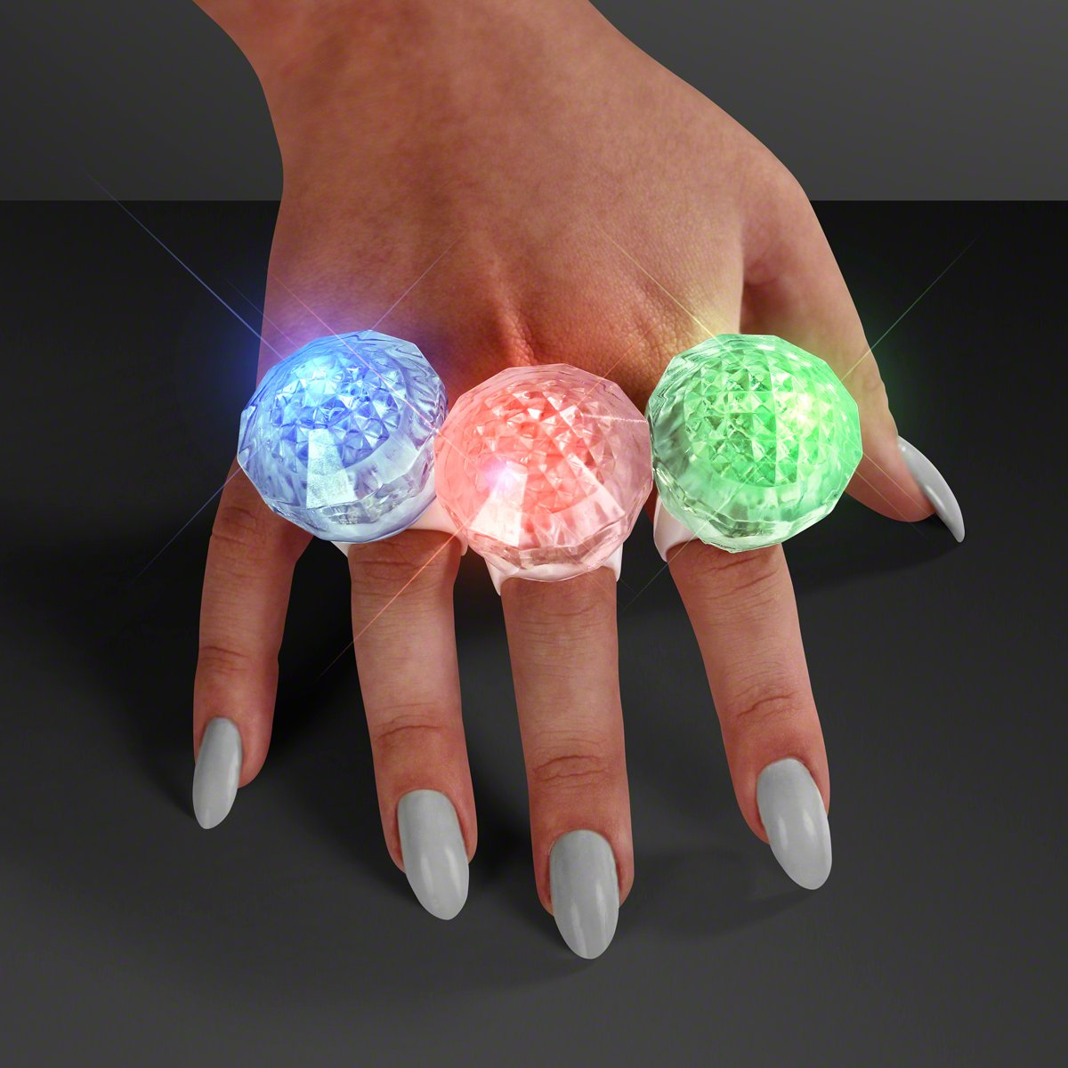 LED Rainbow Flash Rave Ring with Light Trails (Set of 25)