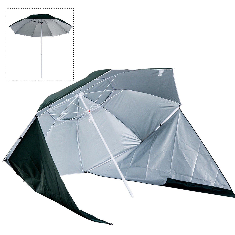 Outsunny Sombrilla de Playa con Paneles Laterales Tipo Tienda - Parasol para Protección de Rayos UV Φ210x222cm: Amazon.es: Jardín
