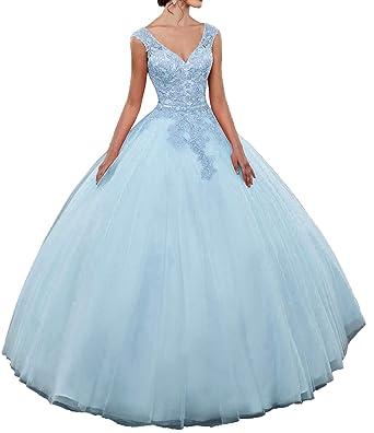 f2965f8b21c EieenDor Lace Appliques Blue Quinceanera Dresses 2 Pieces 2018 Beaded Princess  Long Prom Ball Gowns US2