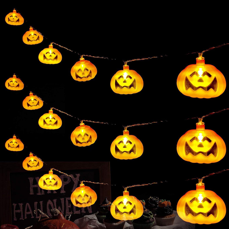 Halloween String Lights 3D Pumpkin Lights Orange Pumpkin Halloween Lights Indoor Outdoor Halloween Decoration for Door Garden Terrace Porch Fence Terrace Halloween Party Decor 20 LED Pumpkin Lantern