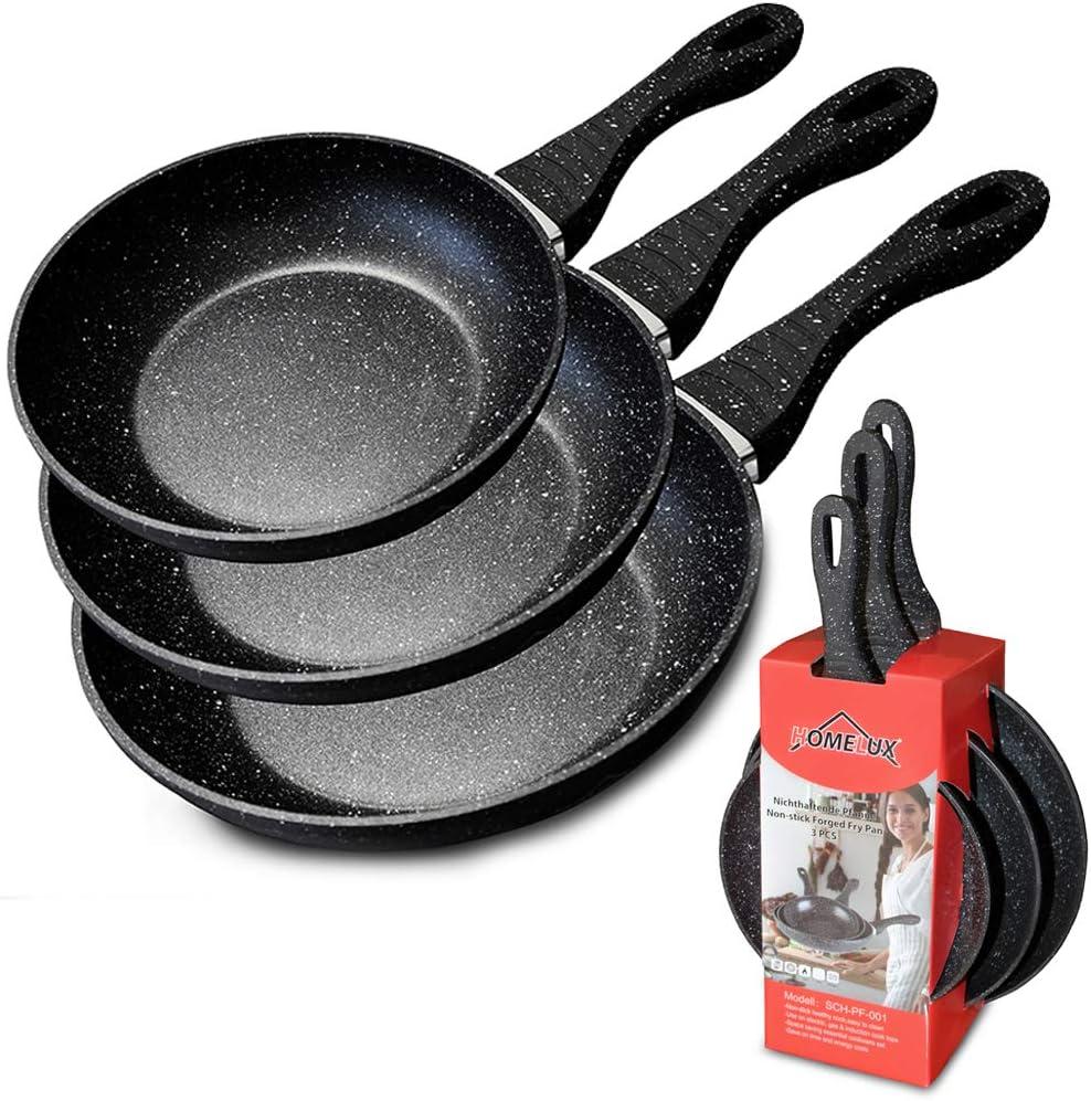 rev/êtement en granit Homelux Po/êle /à frire antiadh/ésive po/êles en pierre moules /à omelette ensemble de casseroles