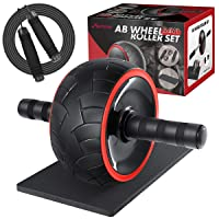 MOVTOTOP 3-in-1 Ab Wheel Roller Kit with Knee Mat and Jump Rope, Fitness Ab Roller Wheel for Abdominal Exercises Abs Workout Equipment for Home Office Gym Trainer Both Men & Women