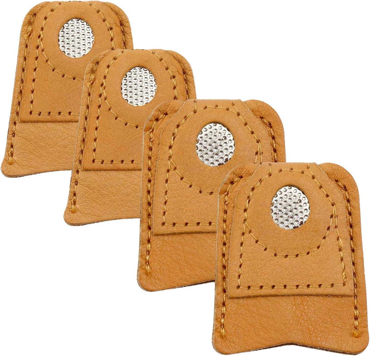 Dedal de Cuero Xrten 4 Pcs Dedales de Costura Dedal Protector de Dedo de Cuero de Coser para Los Accesorios Artesan/ías Herramientas de Costura DIY 2 Tama/ños
