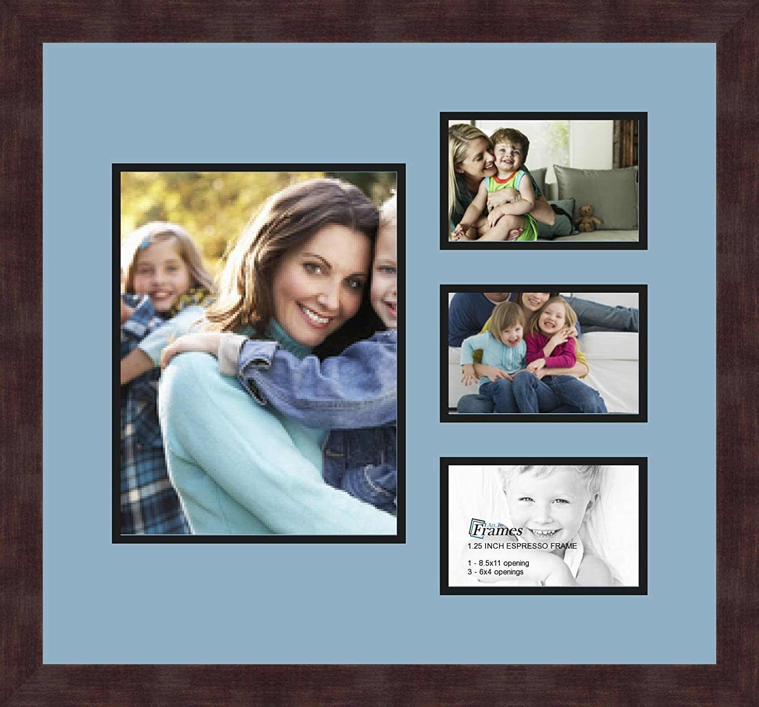 Art to Frames Double-Multimat-1108-716//89-FRBW26061 Collage Frame Photo Mat Double Mat with 1-8.5x11 and 3-4x6 Openings and Espresso Frame