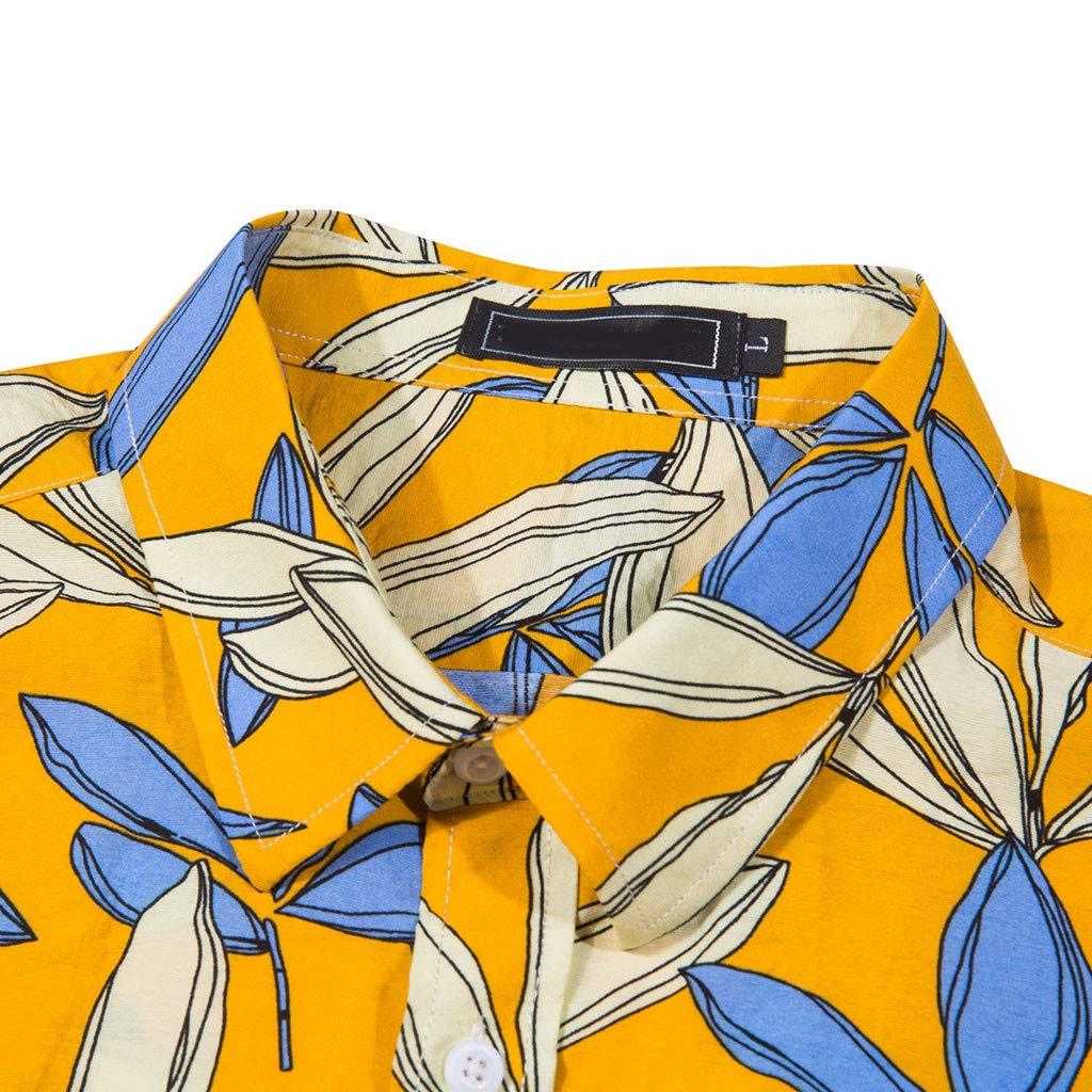Mitiy Mens Casual Short Sleeve Aloha Shirts Button Down Brushed Hawaiian Shirt with Leaves Print