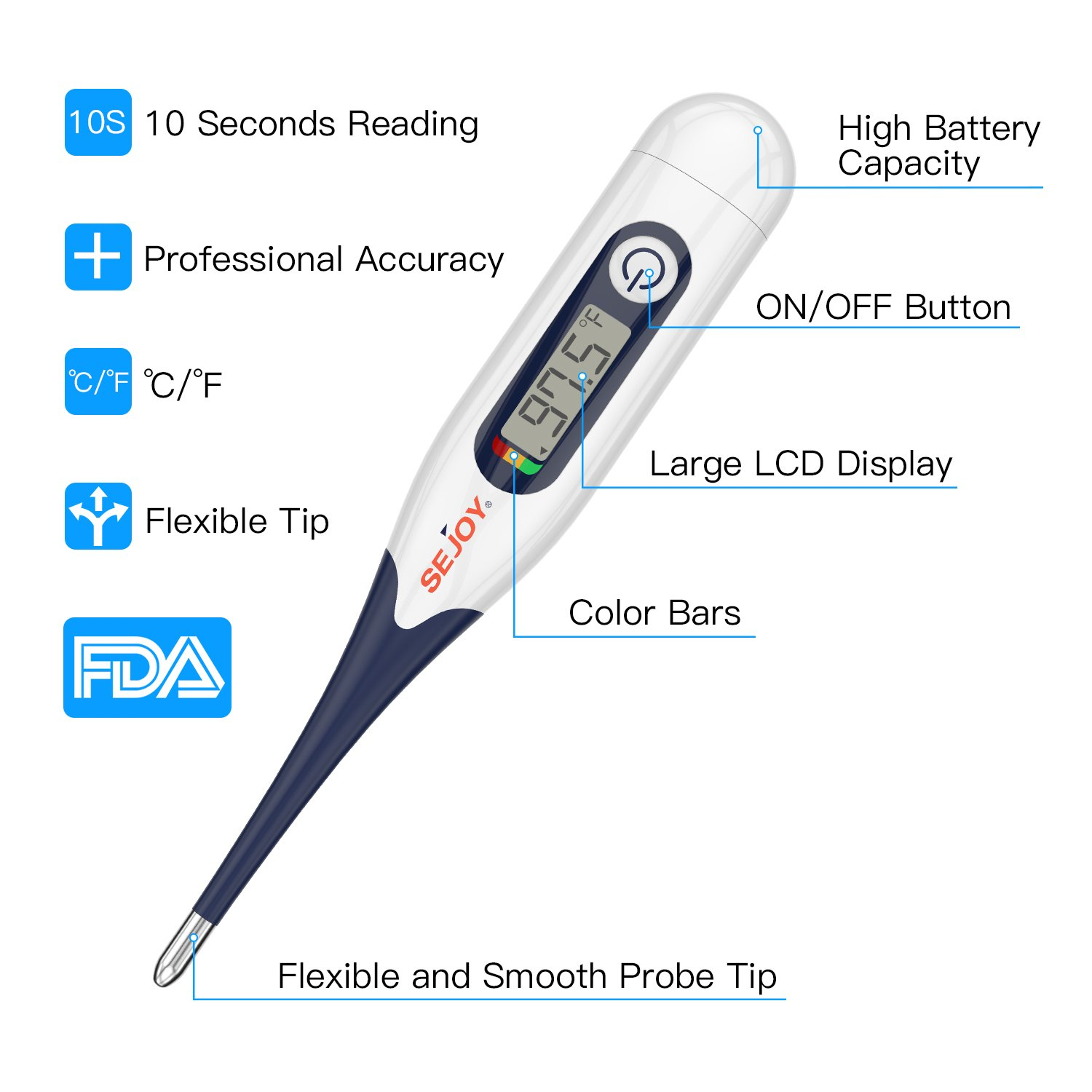 Amazon.com: Digital Oral Medical Thermometer (for Fever Adults Baby Children Infants Pets Termometro), SEJOY Flexible Soft Tip Thermometer Use in Rectal, ...